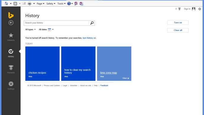 clear bing search history