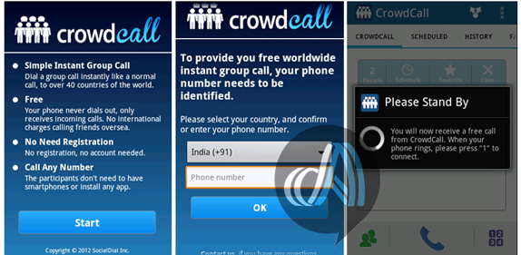 make free calls using crowd call