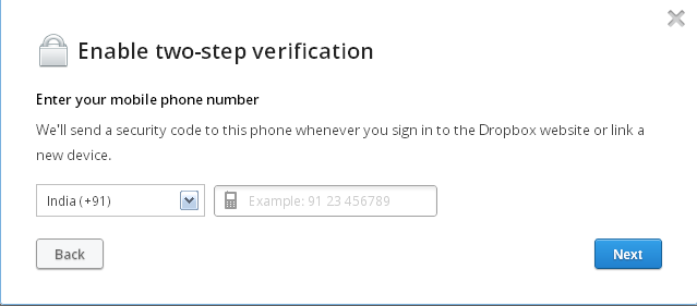 enable two step in dropbox account