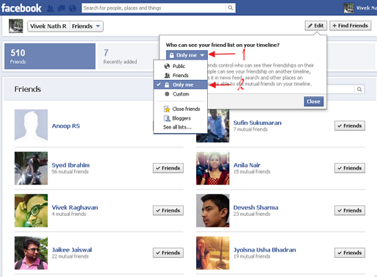 hide friendlist in fb timeline