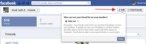hide friendlist from others in fb timeline
