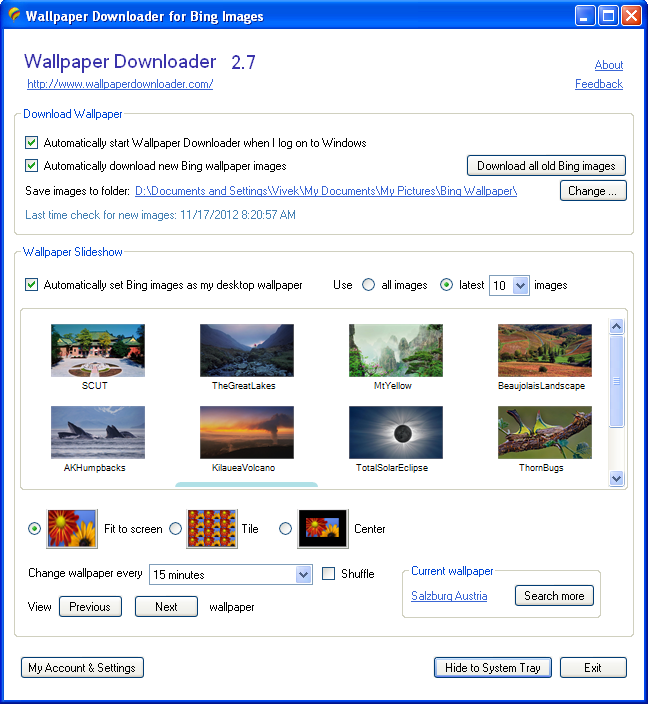 dautomatically download bing wallpapers