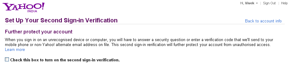two step verification in yahoomail
