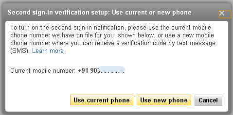 two step verification in yahoo